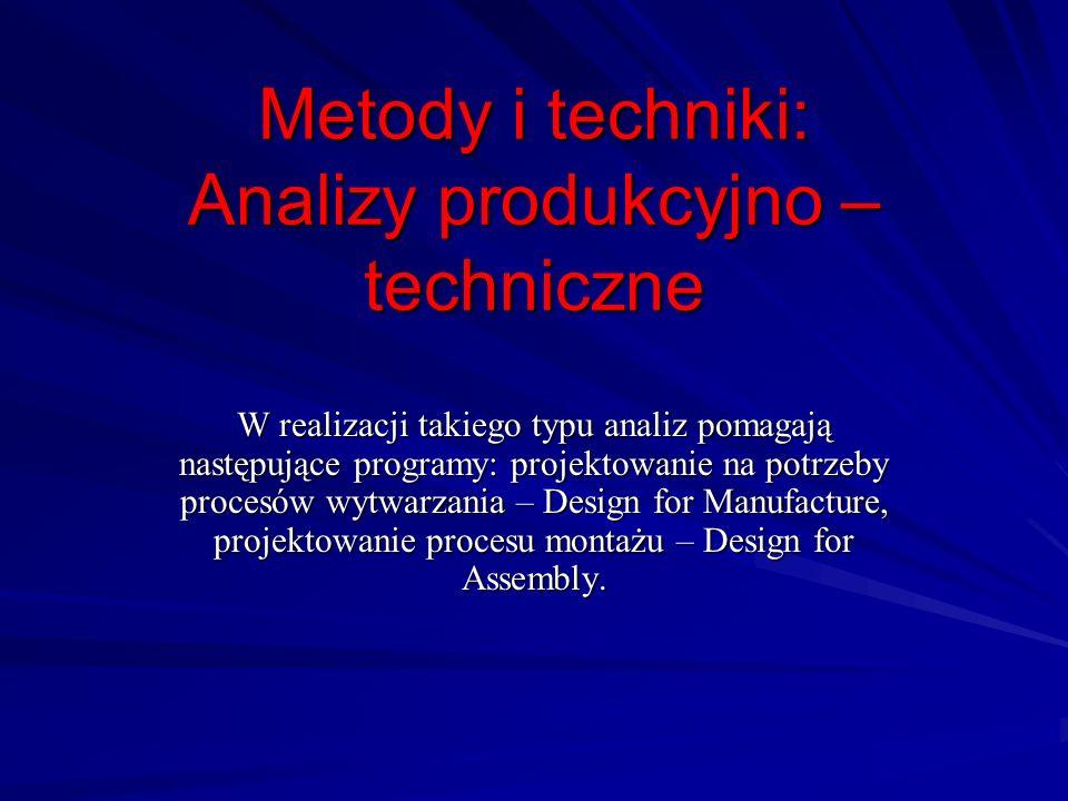 Metody i techniki: Analizy produkcyjno – techniczne W realizacji takiego typu analiz pomagają następujące programy: projektowanie na potrzeby procesów
