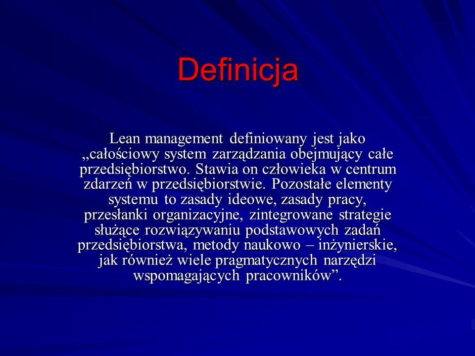 Definicja Lean management definiowany jest jako całościowy system zarządzania obejmujący całe przedsiębiorstwo. Stawia on człowieka w centrum zdarzeń