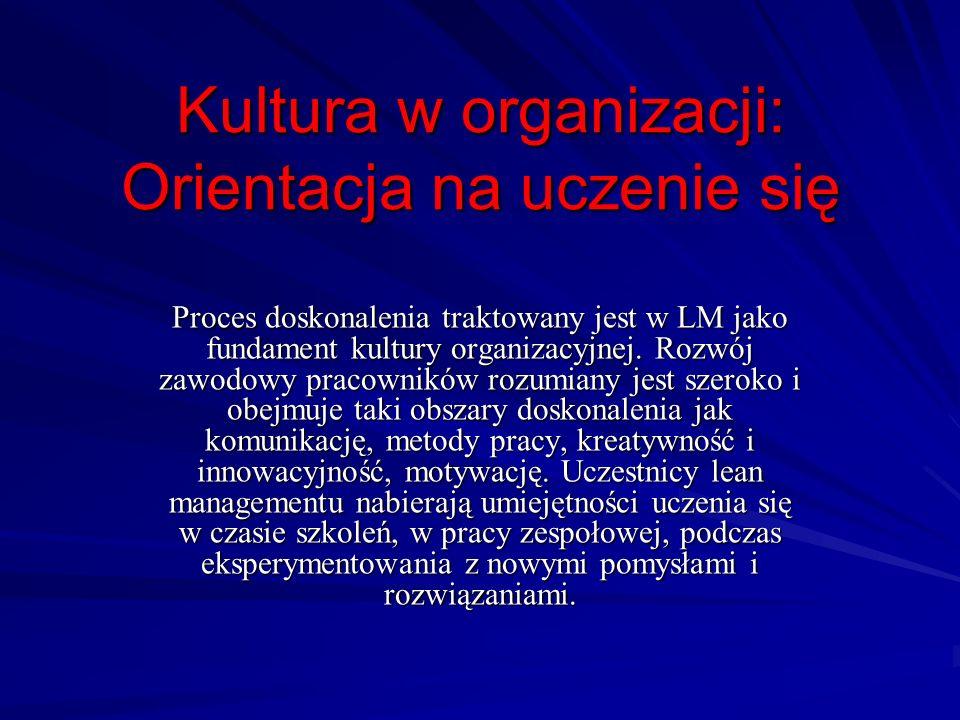 Kultura w organizacji: Orientacja na uczenie się Proces doskonalenia traktowany jest w LM jako fundament kultury organizacyjnej. Rozwój zawodowy praco