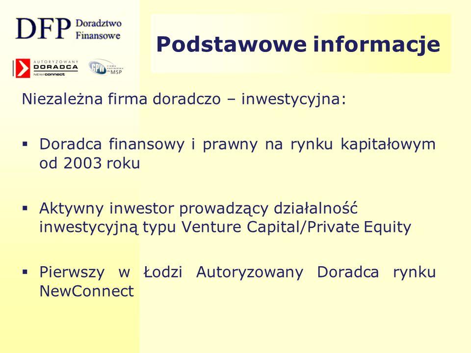 Nasza specjalizacja: Przygotowanie i wprowadzanie spółek do obrotu na Giełdzie Papierów Wartościowych w Warszawie Przygotowanie i wprowadzanie spółek do obrotu w Alternatywnym Systemie Obrotu na rynku NewConnect Doradztwo w pozyskiwaniu przez spółki kapitału na realizację zamierzeń inwestycyjnych w drodze ofert publicznych i prywatnych akcji oraz emisji papierów dłużnych Podstawowe informacje