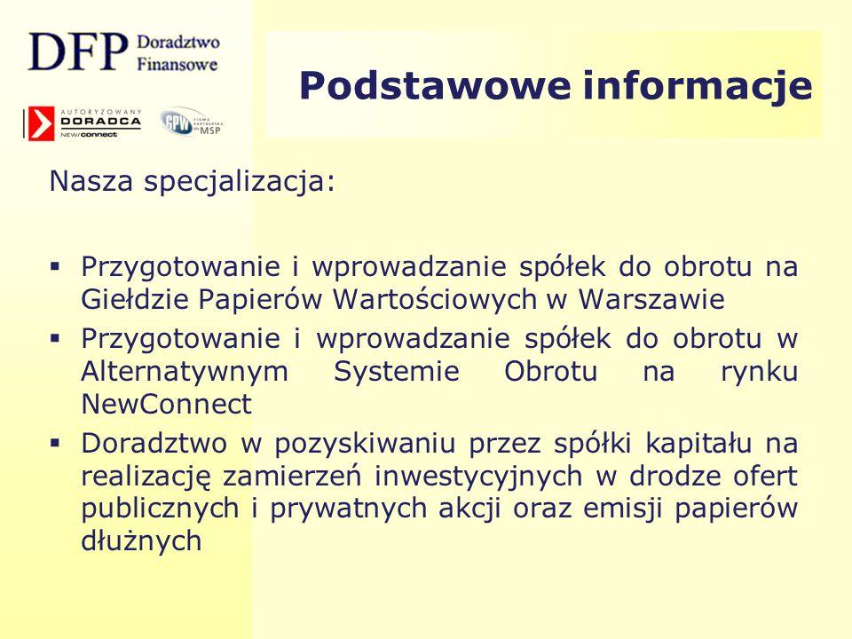 Wskaźniki DFP (1) 2007 r. – 5 mln akcji serii A1, A2, B 2008 r. – 5,5 mln akcji serii A1, A2, B, C