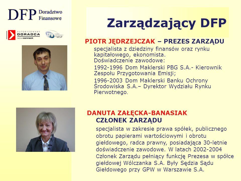 Zarządzający DFP MONIKA OSTRUSZKA CZŁONEK ZARZĄDU specjalista w zakresie finansów, konsultant ds.