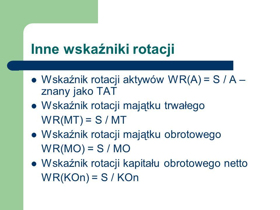 Inne wskaźniki rotacji Wskaźnik rotacji aktywów WR(A) = S / A – znany jako TAT Wskaźnik rotacji majątku trwałego WR(MT) = S / MT Wskaźnik rotacji mają