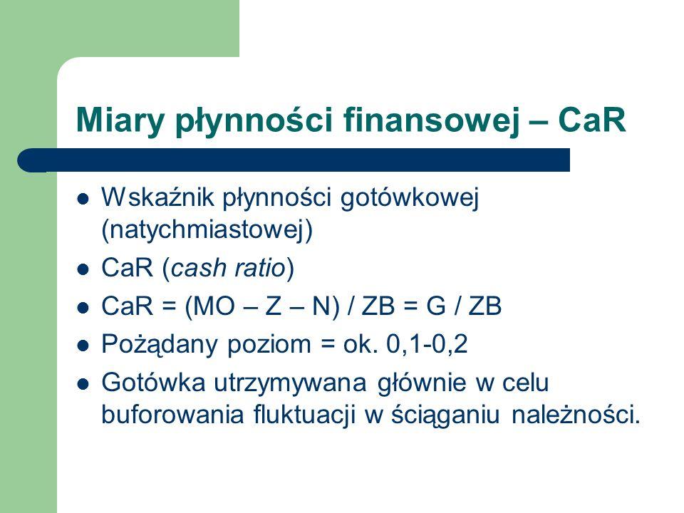 Miary płynności finansowej – CaR Wskaźnik płynności gotówkowej (natychmiastowej) CaR (cash ratio) CaR = (MO – Z – N) / ZB = G / ZB Pożądany poziom = o