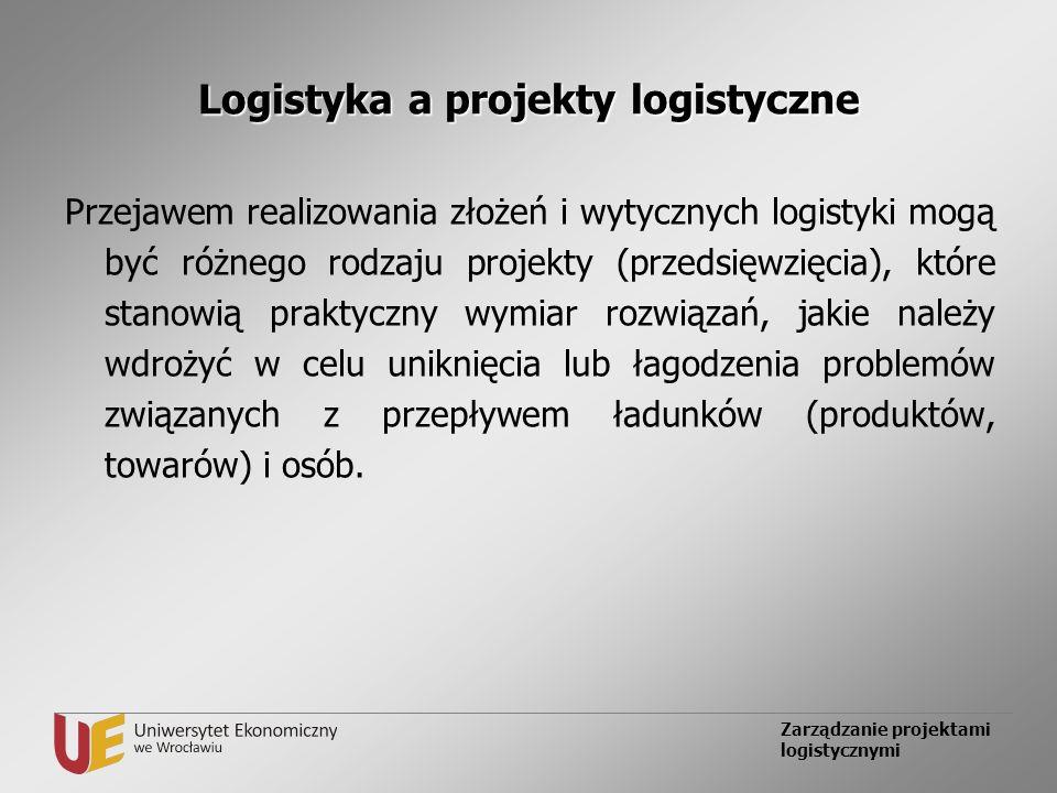 Zarządzanie projektami logistycznymi Logistyka a projekty logistyczne Przejawem realizowania złożeń i wytycznych logistyki mogą być różnego rodzaju pr