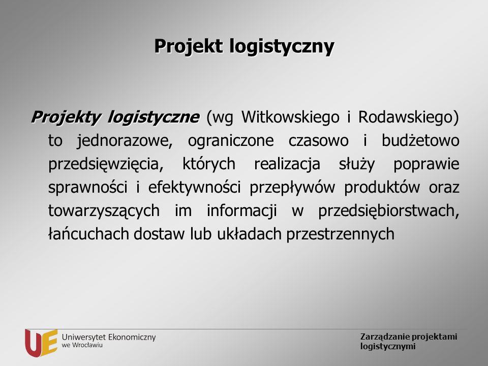 Zarządzanie projektami logistycznymi Projekt logistyczny Projekty logistyczne Projekty logistyczne (wg Witkowskiego i Rodawskiego) to jednorazowe, ogr