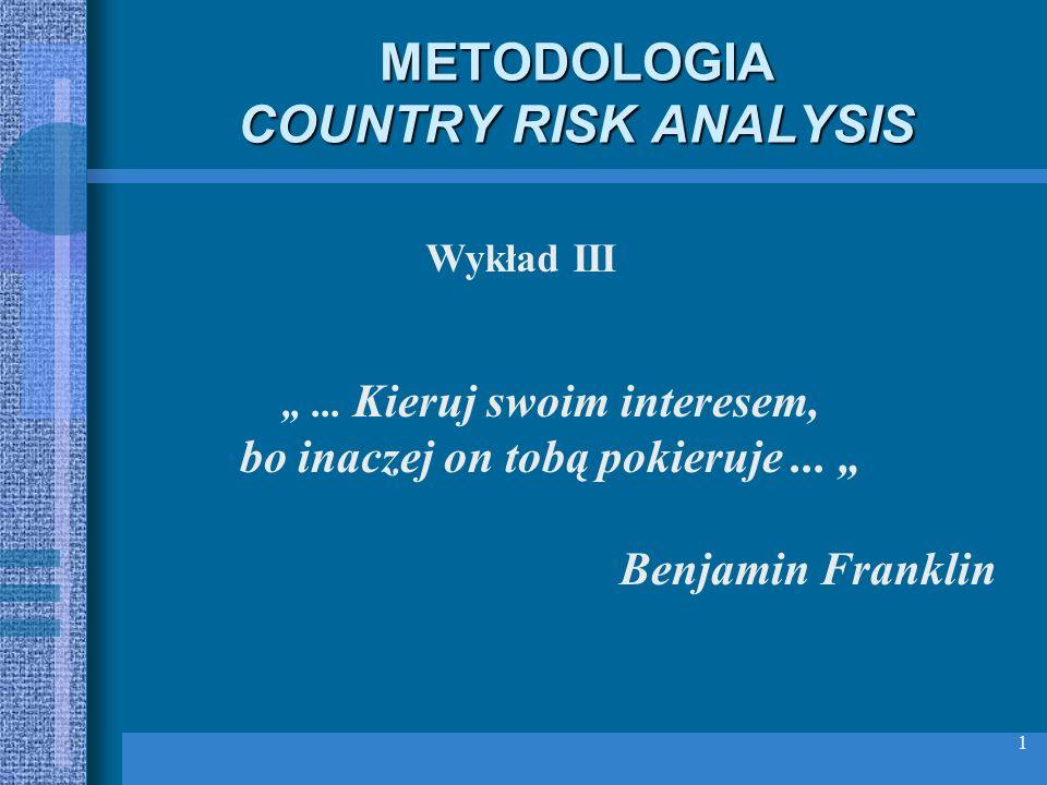 1 METODOLOGIA COUNTRY RISK ANALYSIS... Kieruj swoim interesem, bo inaczej on tobą pokieruje... Benjamin Franklin Wykład III