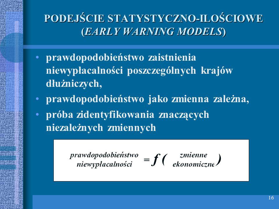 16 PODEJŚCIE STATYSTYCZNO ILOŚCIOWE (EARLY WARNING MODELS) prawdopodobieństwo zaistnienia niewypłacalności poszczególnych krajów dłużniczych, prawdopo