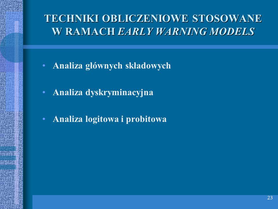 23 TECHNIKI OBLICZENIOWE STOSOWANE W RAMACH EARLY WARNING MODELS Analiza głównych składowych Analiza dyskryminacyjna Analiza logitowa i probitowa