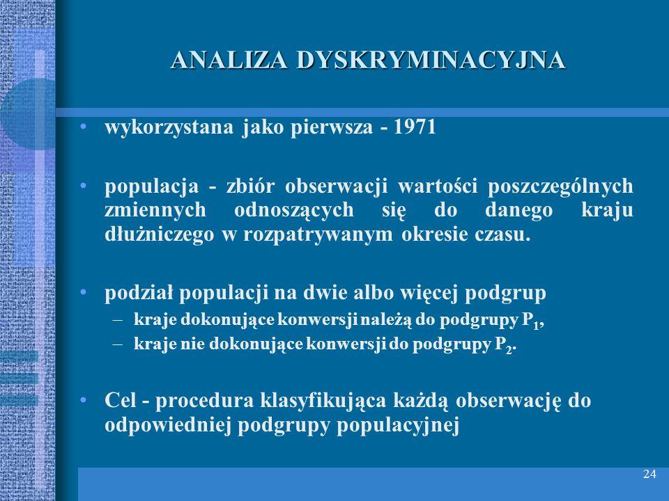 24 ANALIZA DYSKRYMINACYJNA wykorzystana jako pierwsza - 1971 populacja - zbiór obserwacji wartości poszczególnych zmiennych odnoszących się do danego