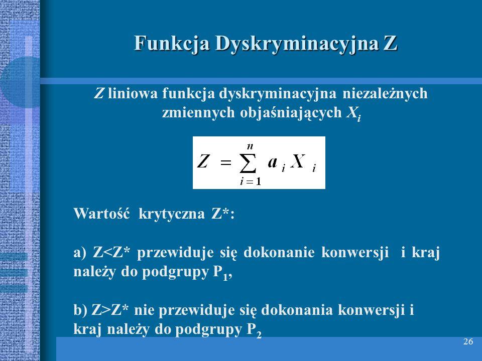 26 Funkcja Dyskryminacyjna Z Z liniowa funkcja dyskryminacyjna niezależnych zmiennych objaśniających X i Wartość krytyczna Z*: a) Z<Z* przewiduje się