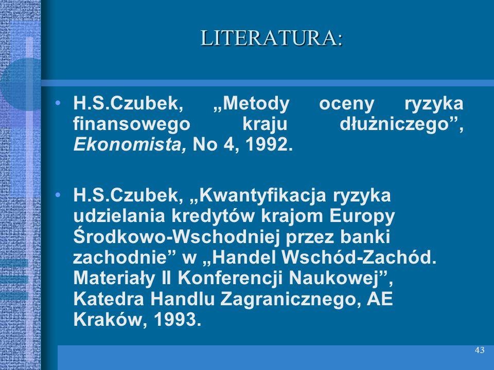 43 LITERATURA: H.S.Czubek, Metody oceny ryzyka finansowego kraju dłużniczego, Ekonomista, No 4, 1992. H.S.Czubek, Kwantyfikacja ryzyka udzielania kred