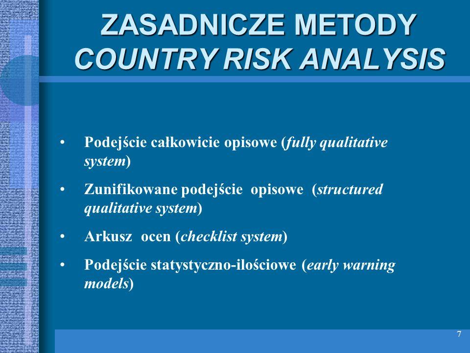 7 ZASADNICZE METODY COUNTRY RISK ANALYSIS Podejście całkowicie opisowe (fully qualitative system) Zunifikowane podejście opisowe (structured qualitati