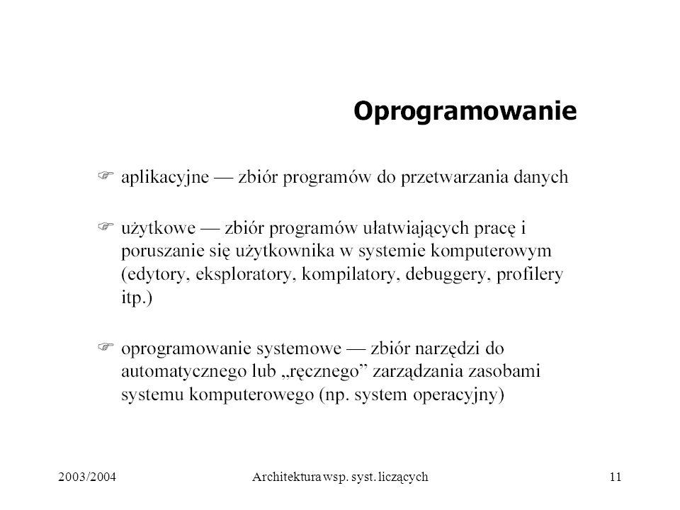 2003/2004Architektura wsp. syst. liczących11