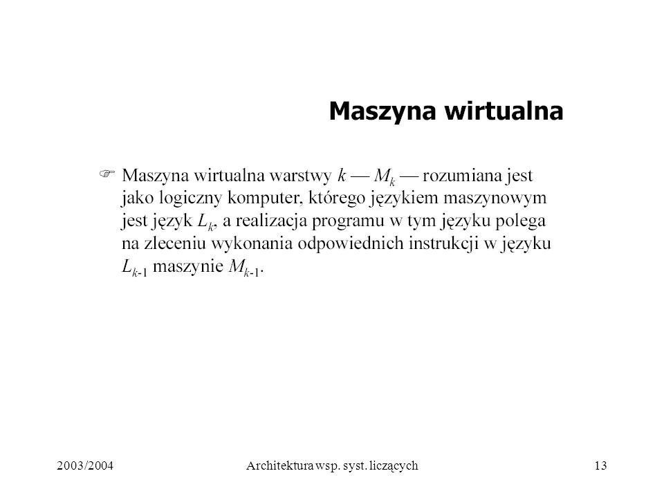 2003/2004Architektura wsp. syst. liczących13