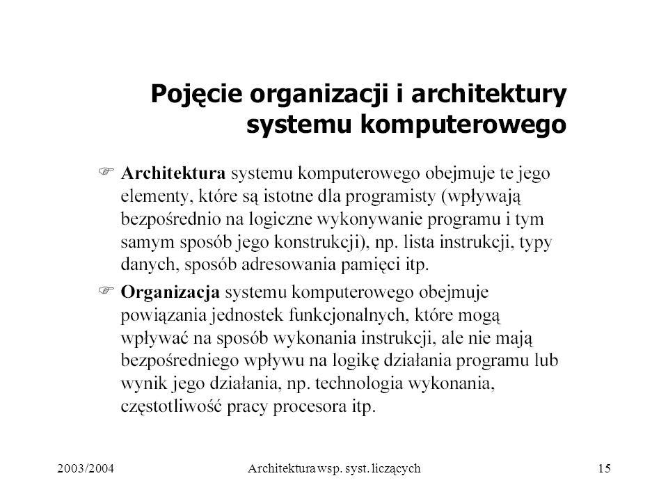 2003/2004Architektura wsp. syst. liczących15