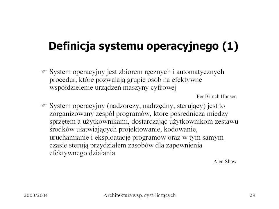 2003/2004Architektura wsp. syst. liczących29