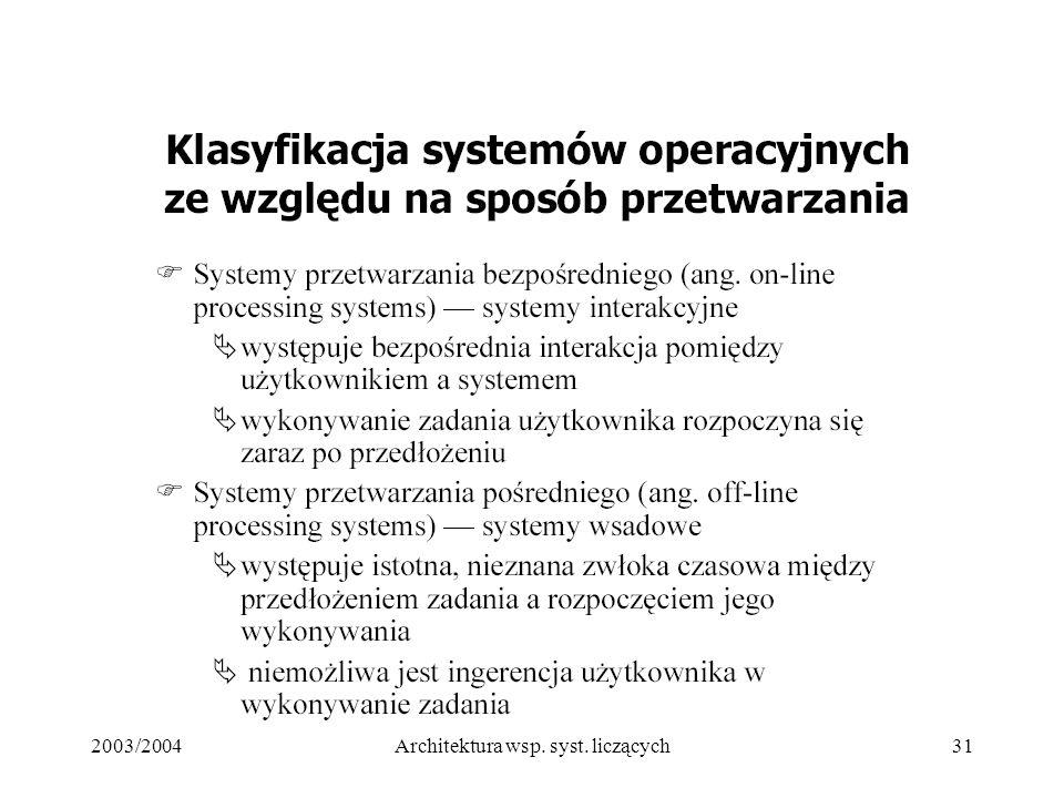 2003/2004Architektura wsp. syst. liczących31