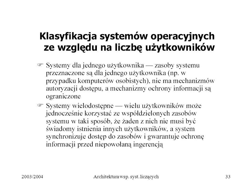 2003/2004Architektura wsp. syst. liczących33