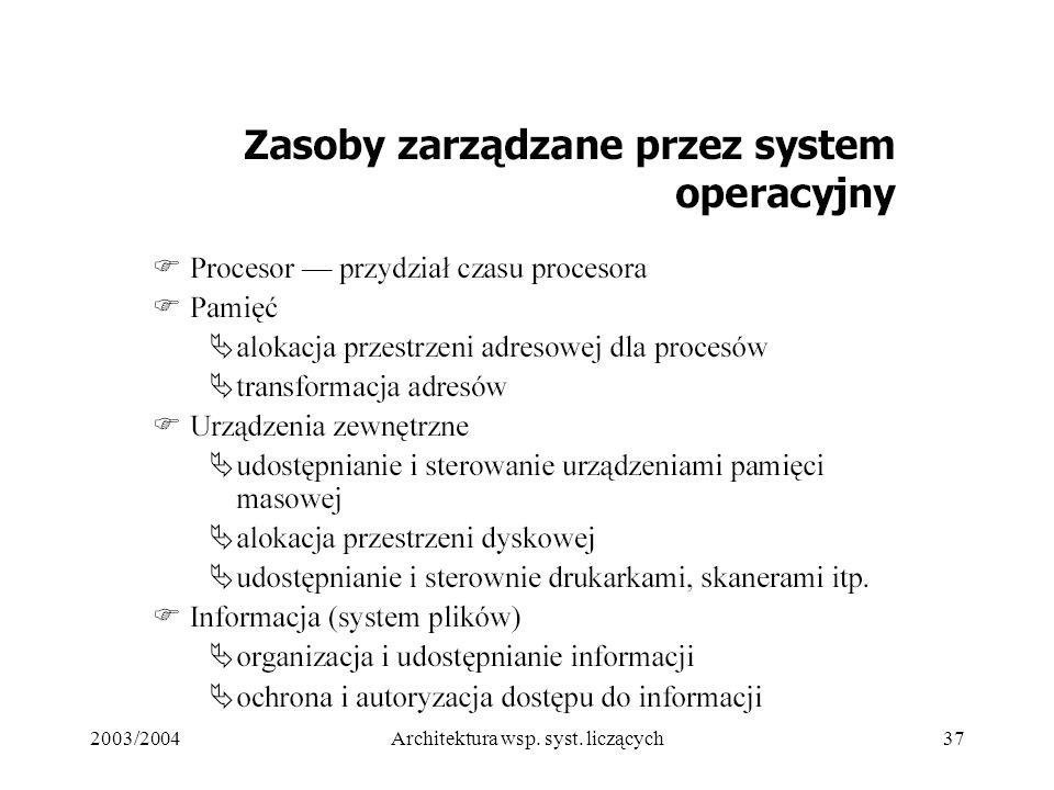 2003/2004Architektura wsp. syst. liczących37