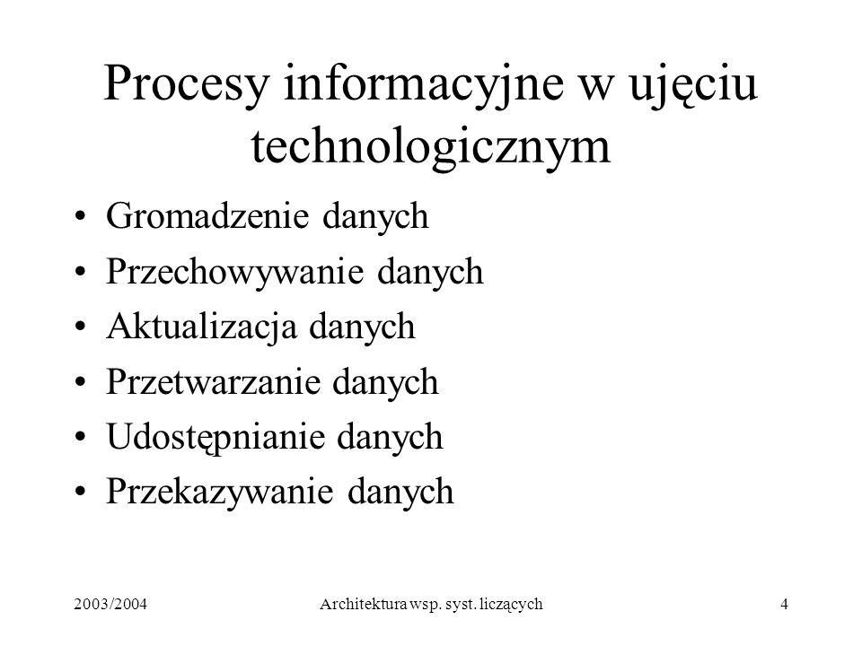2003/2004Architektura wsp. syst. liczących4 Procesy informacyjne w ujęciu technologicznym Gromadzenie danych Przechowywanie danych Aktualizacja danych