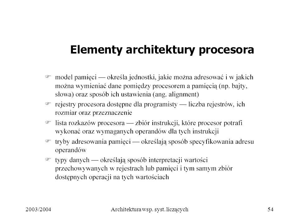 2003/2004Architektura wsp. syst. liczących54
