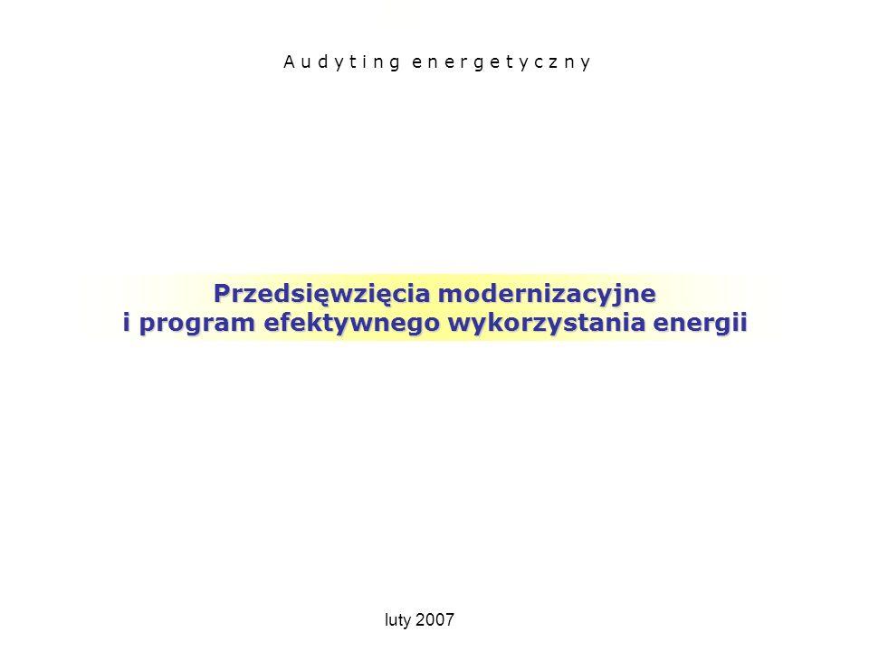 Przedsięwzięcia modernizacyjne i program EWE Przedsięwzięcia modernizacyjne i program efektywnego wykorzystania energii A u d y t i n g e n e r g e t