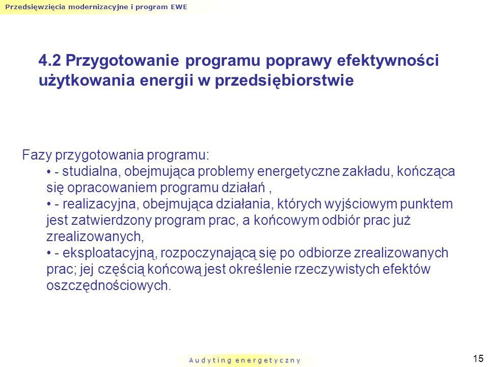 Przedsięwzięcia modernizacyjne i program EWE A u d y t i n g e n e r g e t y c z n y 15 4.2 Przygotowanie programu poprawy efektywności użytkowania en