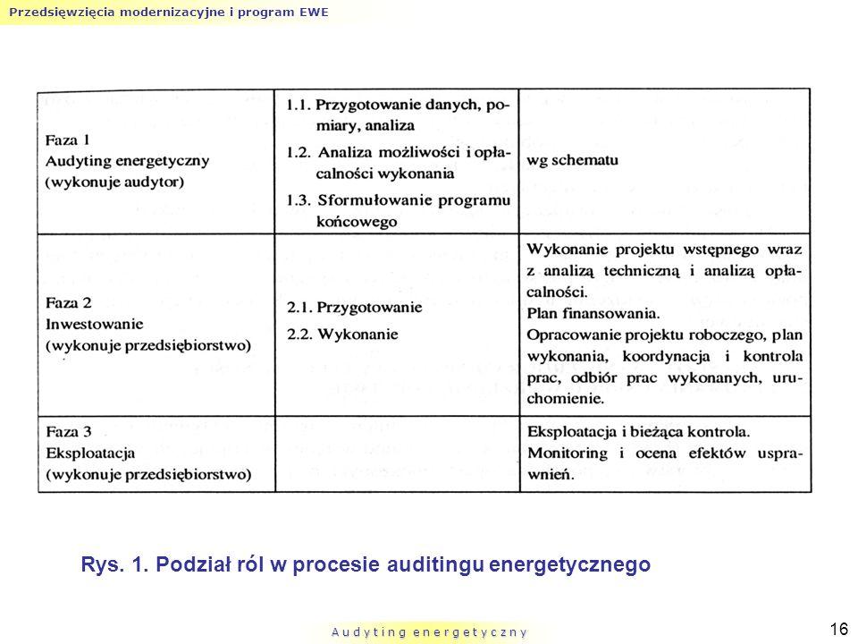 Przedsięwzięcia modernizacyjne i program EWE A u d y t i n g e n e r g e t y c z n y 16 Rys. 1. Podział ról w procesie auditingu energetycznego
