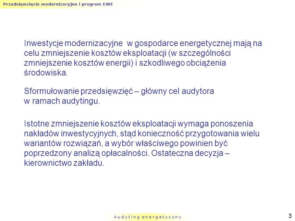 Przedsięwzięcia modernizacyjne i program EWE A u d y t i n g e n e r g e t y c z n y 3 Inwestycje modernizacyjne w gospodarce energetycznej mają na ce