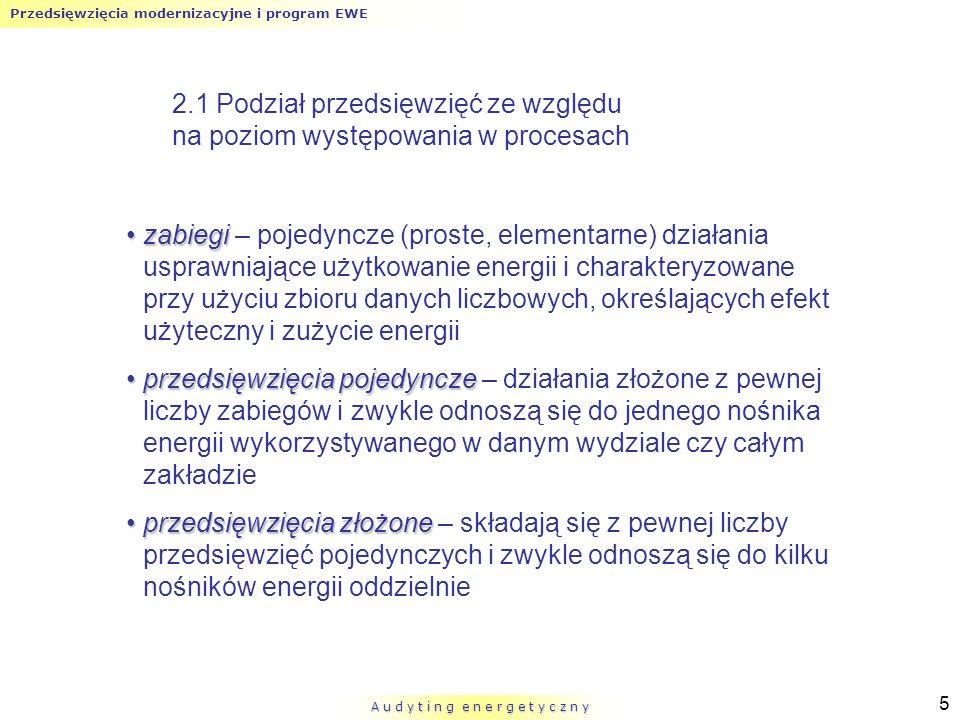 Przedsięwzięcia modernizacyjne i program EWE A u d y t i n g e n e r g e t y c z n y 5 2.1 Podział przedsięwzięć ze względu na poziom występowania w p