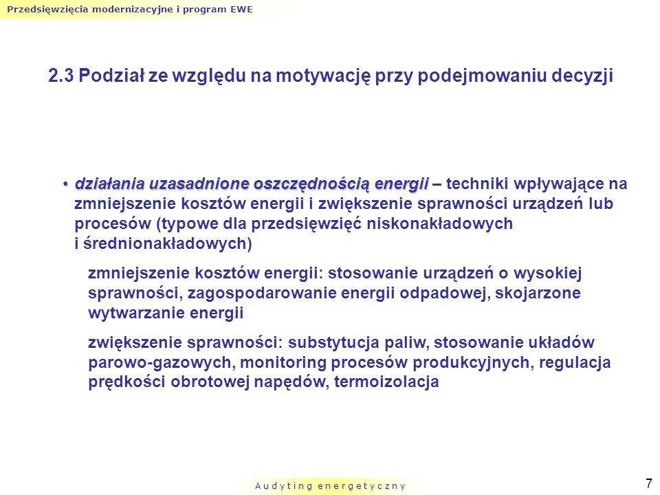 Przedsięwzięcia modernizacyjne i program EWE A u d y t i n g e n e r g e t y c z n y 18