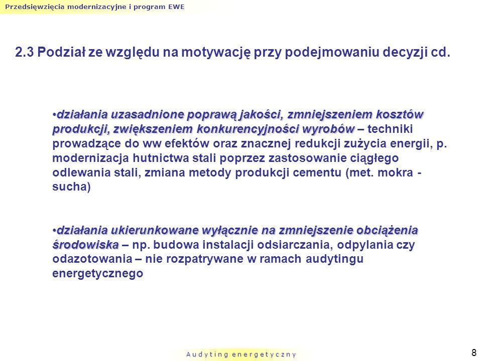 Przedsięwzięcia modernizacyjne i program EWE A u d y t i n g e n e r g e t y c z n y 19 Rys.