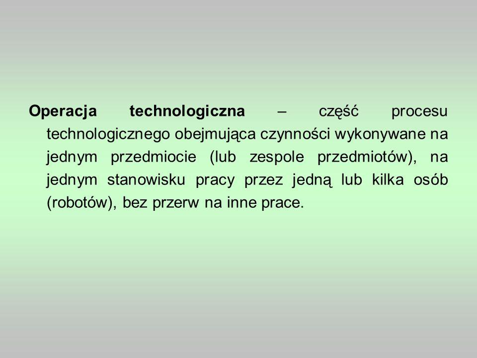 Operacja technologiczna – część procesu technologicznego obejmująca czynności wykonywane na jednym przedmiocie (lub zespole przedmiotów), na jednym st
