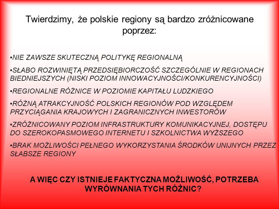 Twierdzimy, że polskie regiony są bardzo zróżnicowane poprzez: NIE ZAWSZE SKUTECZNĄ POLITYKĘ REGIONALNĄ SŁABO ROZWINIĘTĄ PRZEDSIĘBIORCZOŚĆ SZCZEGÓLNIE