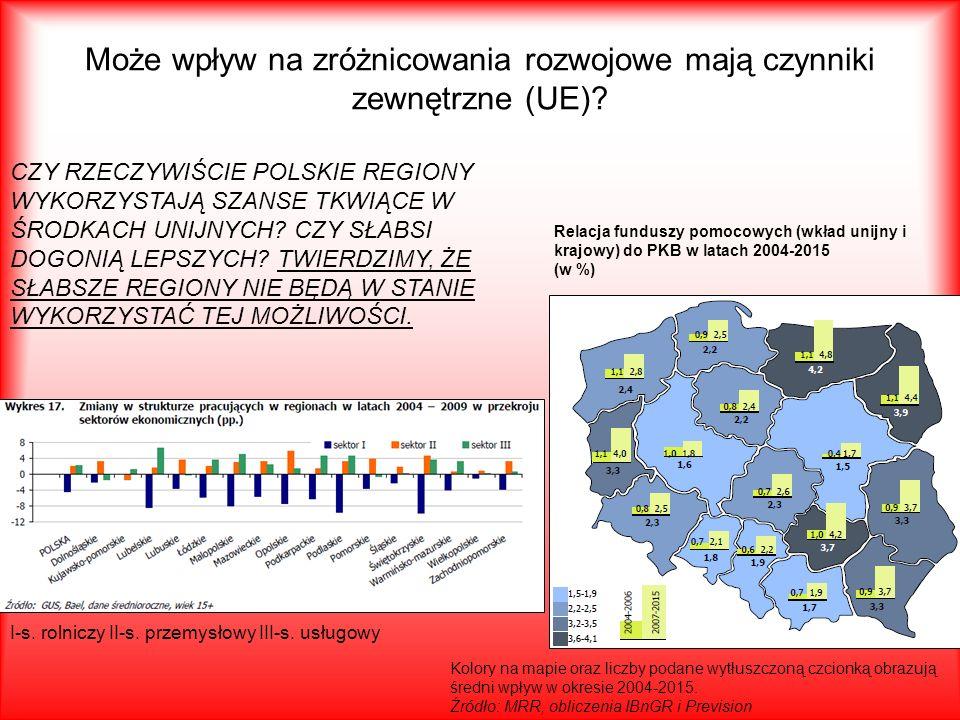 Może wpływ na zróżnicowania rozwojowe mają czynniki zewnętrzne (UE)? Kolory na mapie oraz liczby podane wytłuszczoną czcionką obrazują średni wpływ w