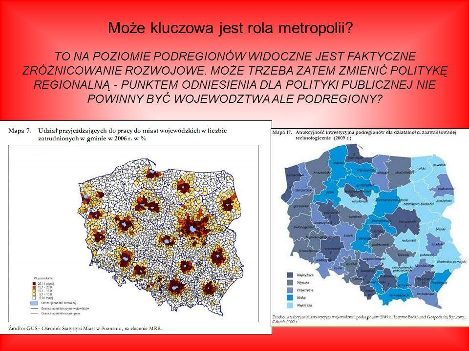 Może kluczowa jest rola metropolii? TO NA POZIOMIE PODREGIONÓW WIDOCZNE JEST FAKTYCZNE ZRÓŻNICOWANIE ROZWOJOWE. MOŻE TRZEBA ZATEM ZMIENIĆ POLITYKĘ REG