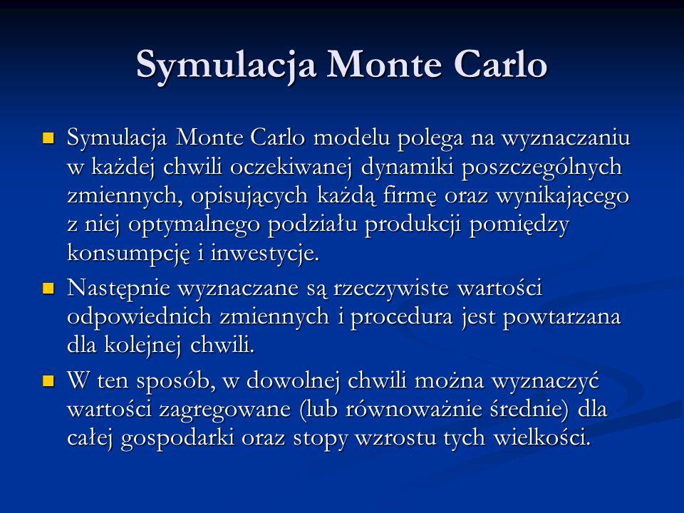 Symulacja Monte Carlo Symulacja Monte Carlo modelu polega na wyznaczaniu w każdej chwili oczekiwanej dynamiki poszczególnych zmiennych, opisujących ka