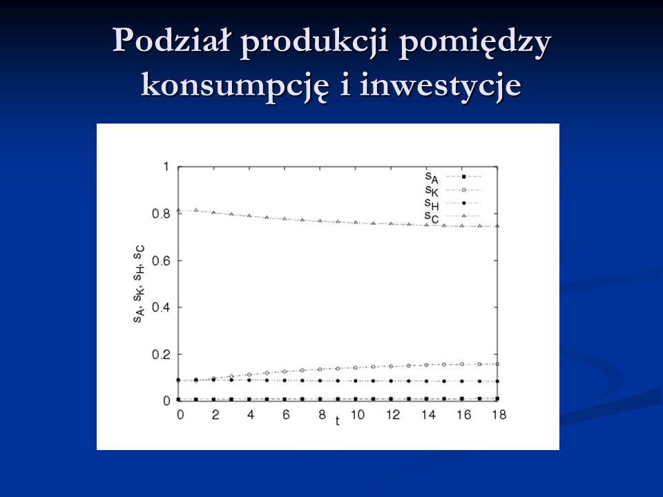 Podział produkcji pomiędzy konsumpcję i inwestycje