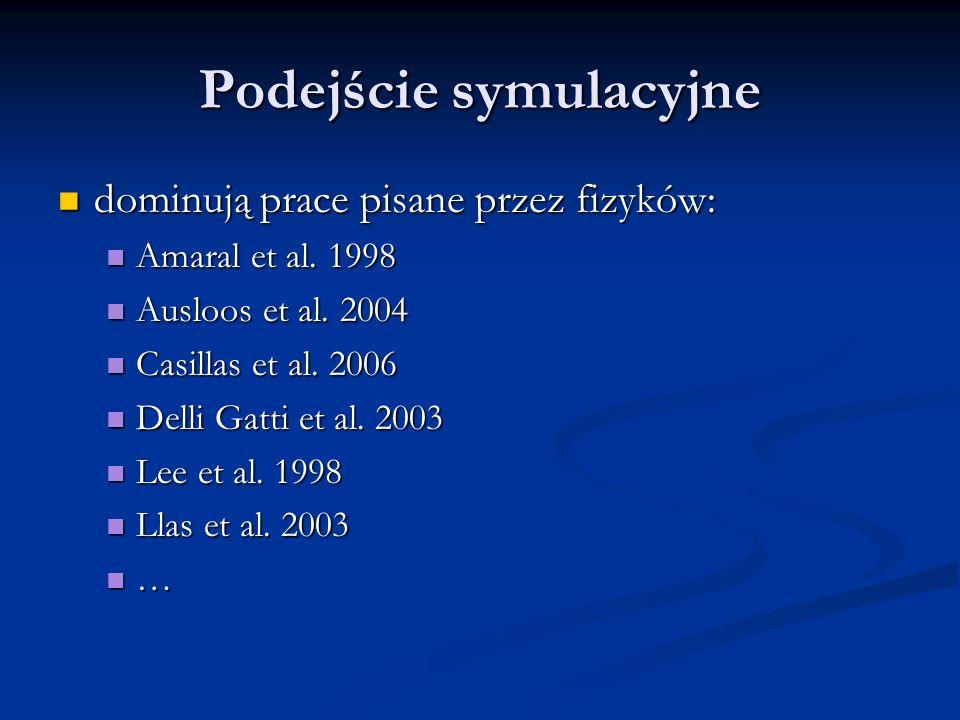 Podejście symulacyjne dominują prace pisane przez fizyków: dominują prace pisane przez fizyków: Amaral et al. 1998 Amaral et al. 1998 Ausloos et al. 2
