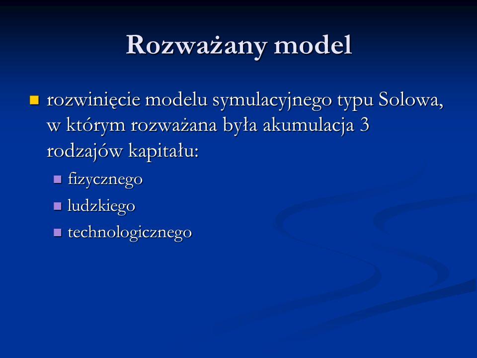 Rozważany model rozwinięcie modelu symulacyjnego typu Solowa, w którym rozważana była akumulacja 3 rodzajów kapitału: rozwinięcie modelu symulacyjnego