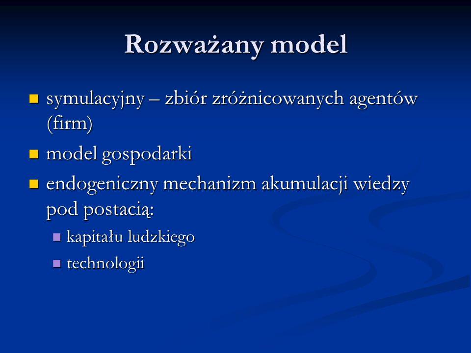 Rozważany model symulacyjny – zbiór zróżnicowanych agentów (firm) symulacyjny – zbiór zróżnicowanych agentów (firm) model gospodarki model gospodarki