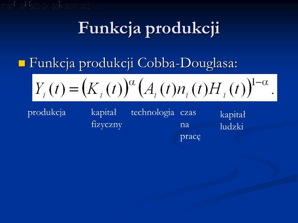Funkcja produkcji Funkcja produkcji Cobba-Douglasa: Funkcja produkcji Cobba-Douglasa: produkcjakapitał fizyczny technologiaczas na pracę kapitał ludzk