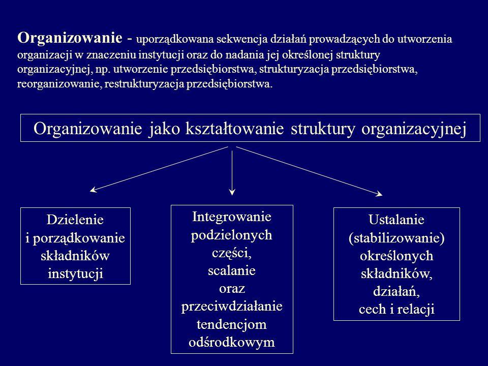 Organizowanie - uporządkowana sekwencja działań prowadzących do utworzenia organizacji w znaczeniu instytucji oraz do nadania jej określonej struktury