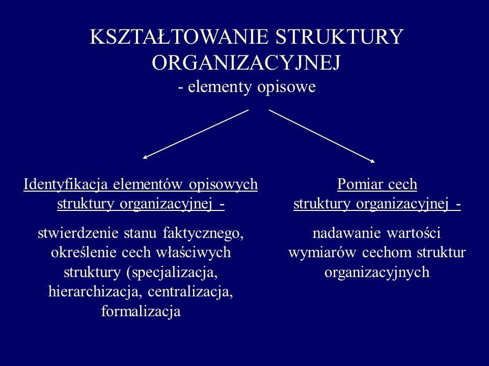 KSZTAŁTOWANIE STRUKTURY ORGANIZACYJNEJ - elementy opisowe Identyfikacja elementów opisowych struktury organizacyjnej - stwierdzenie stanu faktycznego,