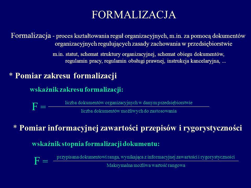 FORMALIZACJA Formalizacja - proces kształtowania reguł organizacyjnych, m.in. za pomocą dokumentów organizacyjnych regulujących zasady zachowania w pr