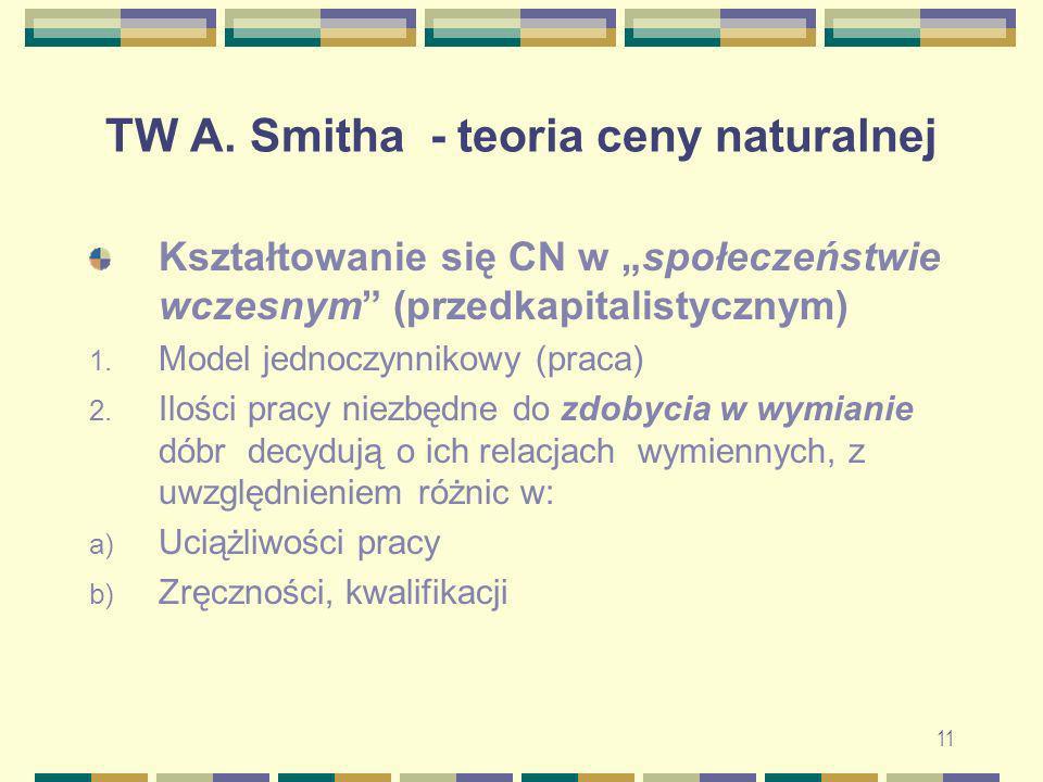 11 TW A. Smitha - teoria ceny naturalnej Kształtowanie się CN w społeczeństwie wczesnym (przedkapitalistycznym) 1. Model jednoczynnikowy (praca) 2. Il