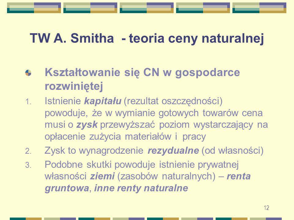 12 TW A. Smitha - teoria ceny naturalnej Kształtowanie się CN w gospodarce rozwiniętej 1. Istnienie kapitału (rezultat oszczędności) powoduje, że w wy