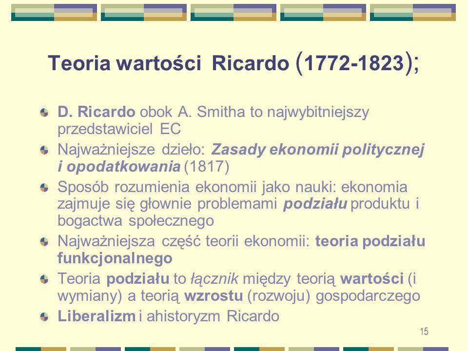 15 Teoria wartości Ricardo ( 1772-1823 ); D. Ricardo obok A. Smitha to najwybitniejszy przedstawiciel EC Najważniejsze dzieło: Zasady ekonomii polityc