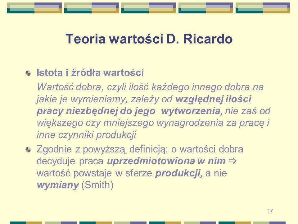 17 Teoria wartości D. Ricardo Istota i źródła wartości Wartość dobra, czyli ilość każdego innego dobra na jakie je wymieniamy, zależy od względnej ilo